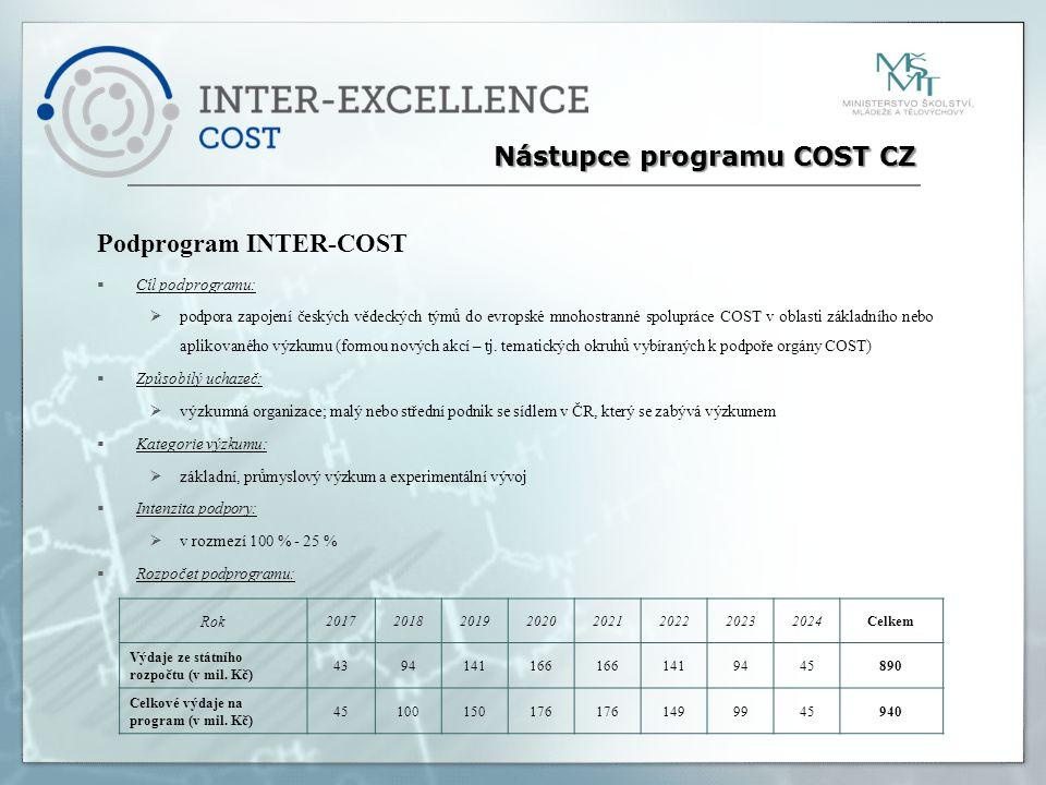 Podprogram INTER-COST  Cíl podprogramu:  podpora zapojení českých vědeckých týmů do evropské mnohostranné spolupráce COST v oblasti základního nebo aplikovaného výzkumu (formou nových akcí – tj.