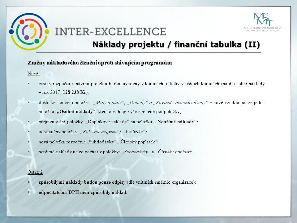 Změny nákladového členění oproti stávajícím programům Nově:  částky rozpočtu v návrhu projektu budou uváděny v korunách, nikoliv v tisících korunách