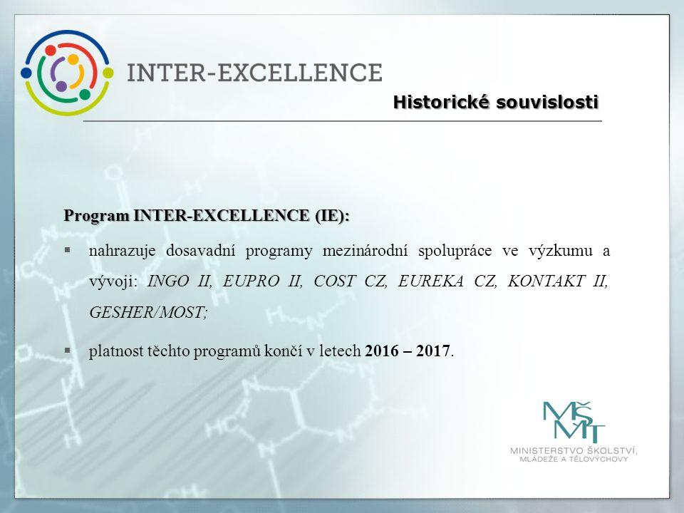 Program INTER-EXCELLENCE (IE):  nahrazuje dosavadní programy mezinárodní spolupráce ve výzkumu a vývoji: INGO II, EUPRO II, COST CZ, EUREKA CZ, KONTAKT II, GESHER/MOST;  platnost těchto programů končí v letech 2016 – 2017.