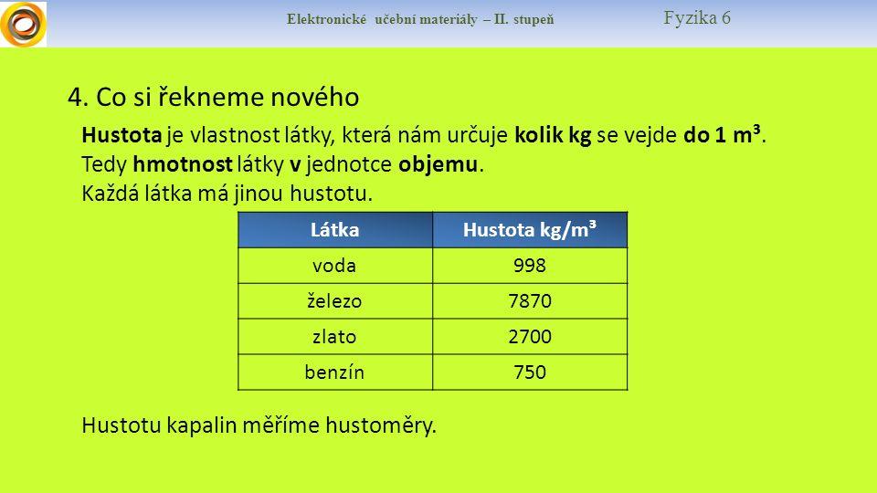 Elektronické učební materiály – II. stupeň Fyzika 6 4. Co si řekneme nového Hustota je vlastnost látky, která nám určuje kolik kg se vejde do 1 m³. Te