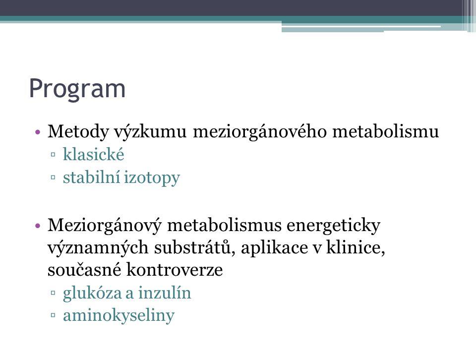 Program Metody výzkumu meziorgánového metabolismu ▫klasické ▫stabilní izotopy Meziorgánový metabolismus energeticky významných substrátů, aplikace v k