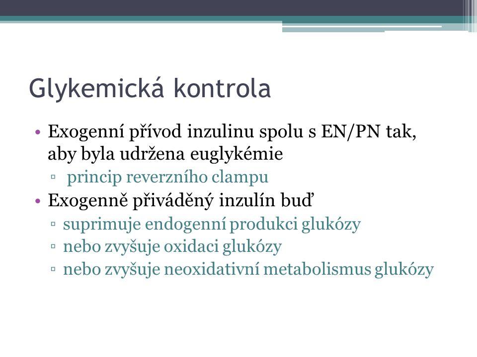 Glykemická kontrola Exogenní přívod inzulinu spolu s EN/PN tak, aby byla udržena euglykémie ▫ princip reverzního clampu Exogenně přiváděný inzulín buď