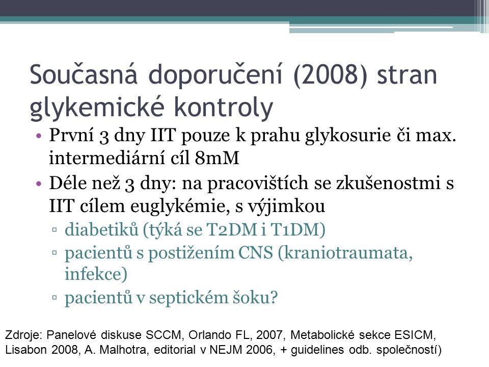 Současná doporučení (2008) stran glykemické kontroly První 3 dny IIT pouze k prahu glykosurie či max. intermediární cíl 8mM Déle než 3 dny: na pracovi