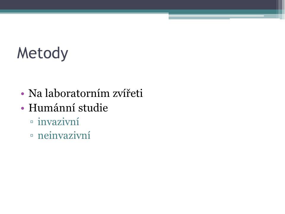 Metody Na laboratorním zvířeti Humánní studie ▫invazivní ▫neinvazivní