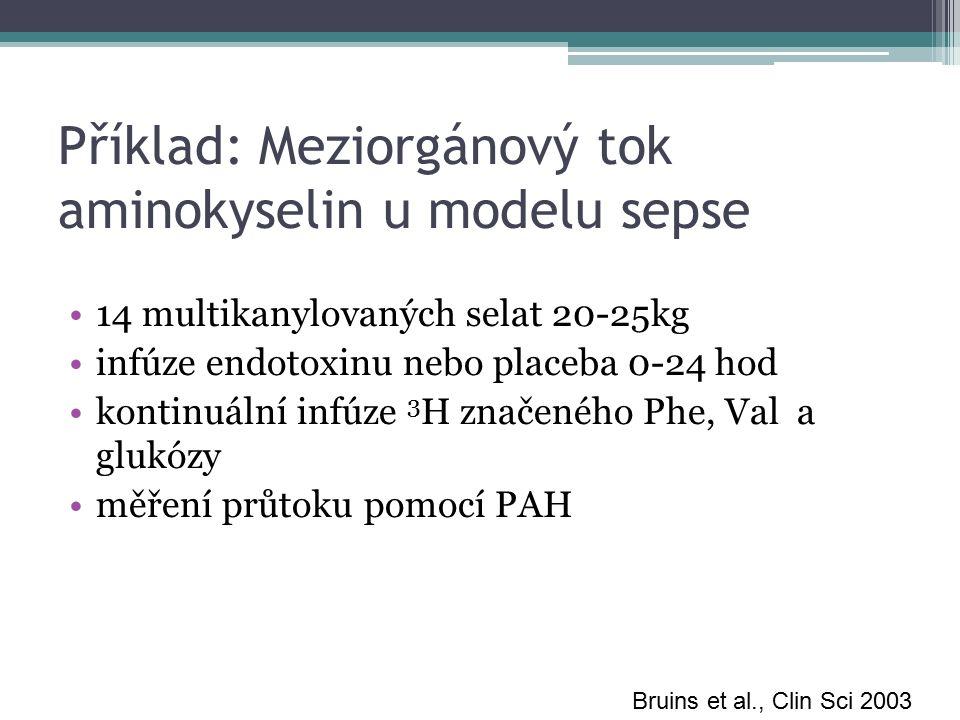 Příklad: Meziorgánový tok aminokyselin u modelu sepse 14 multikanylovaných selat 20-25kg infúze endotoxinu nebo placeba 0-24 hod kontinuální infúze 3 H značeného Phe, Val a glukózy měření průtoku pomocí PAH Bruins et al., Clin Sci 2003