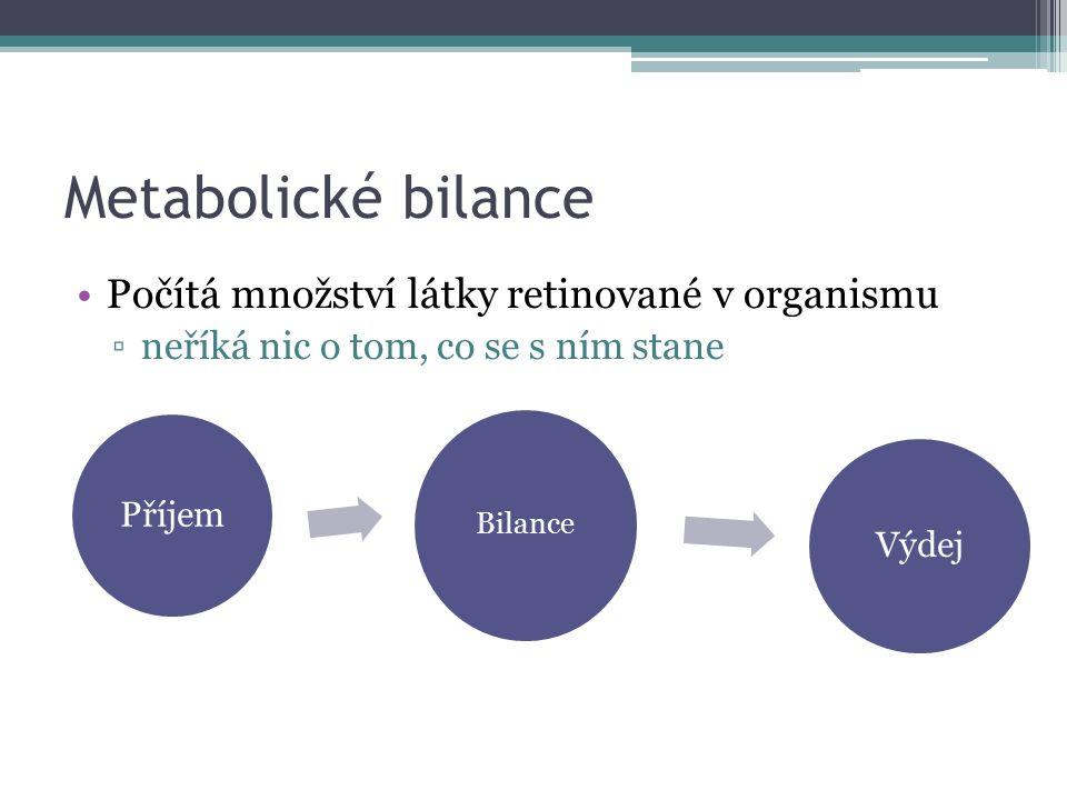 Metabolické bilance Počítá množství látky retinované v organismu ▫neříká nic o tom, co se s ním stane Bilance Příjem Výdej