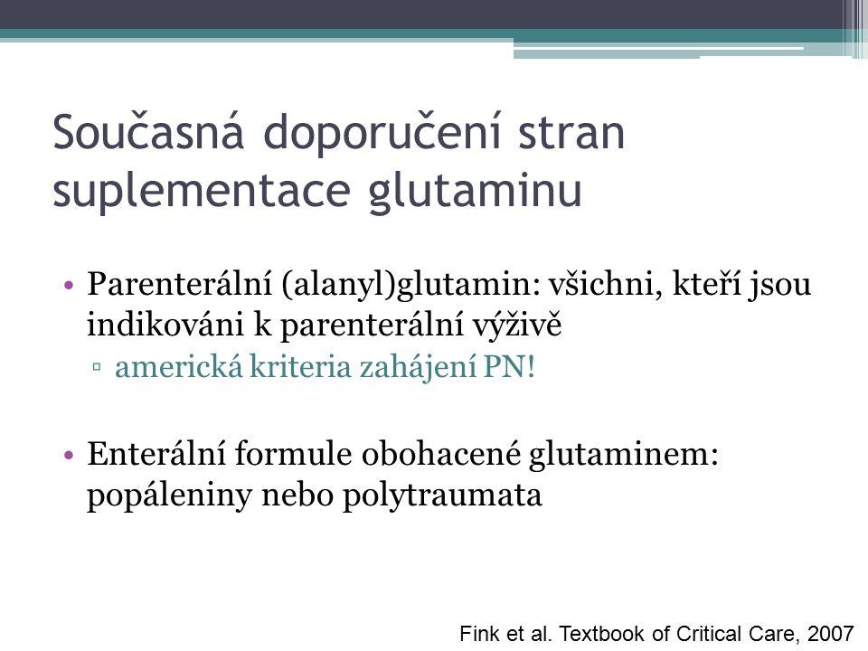 Současná doporučení stran suplementace glutaminu Parenterální (alanyl)glutamin: všichni, kteří jsou indikováni k parenterální výživě ▫americká kriteri