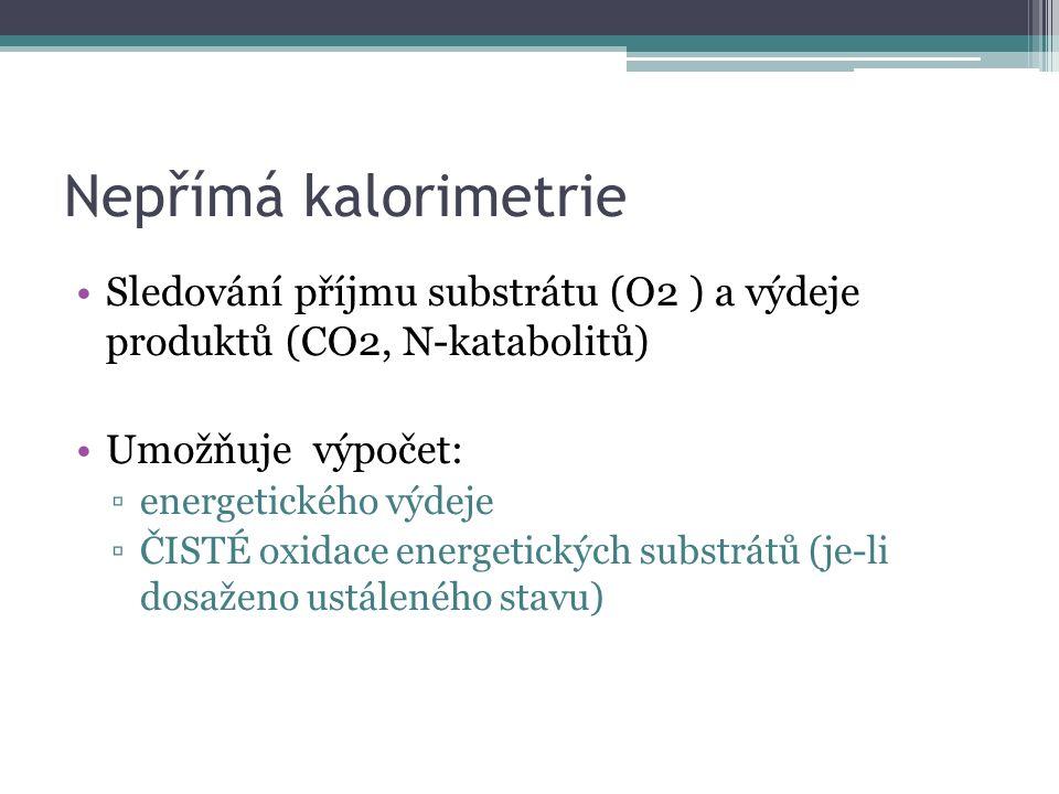 Nepřímá kalorimetrie Sledování příjmu substrátu (O2 ) a výdeje produktů (CO2, N-katabolitů) Umožňuje výpočet: ▫energetického výdeje ▫ČISTÉ oxidace ene