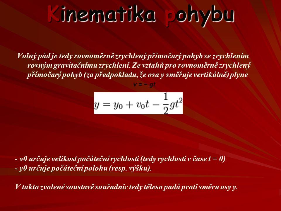 Kinematika pohybu Volný pád je tedy rovnoměrně zrychlený přímočarý pohyb se zrychlením rovným gravitačnímu zrychlení.
