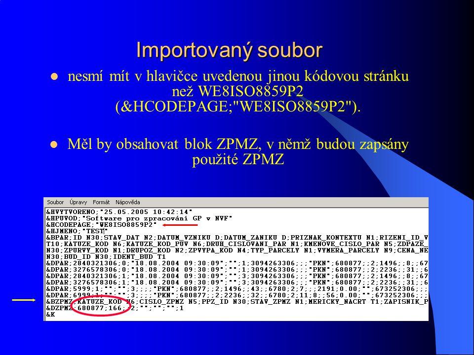 Import GP v NVF Předaný soubor *.vfk, *.xml obsahuje návrh změn parcel, bonitních dílů, grafických prvků mapy a body polohopisu neobsahuje návrh změn budov Velikost souboru-menší datová náročnost Možnost dekomprimace souboru Adresářová struktura a sjednocení názvů souborů pro import: PORCIS k.ú.-ZPMZ.vfk (056-0127.vfk) Disketa nebo USB flash disk.