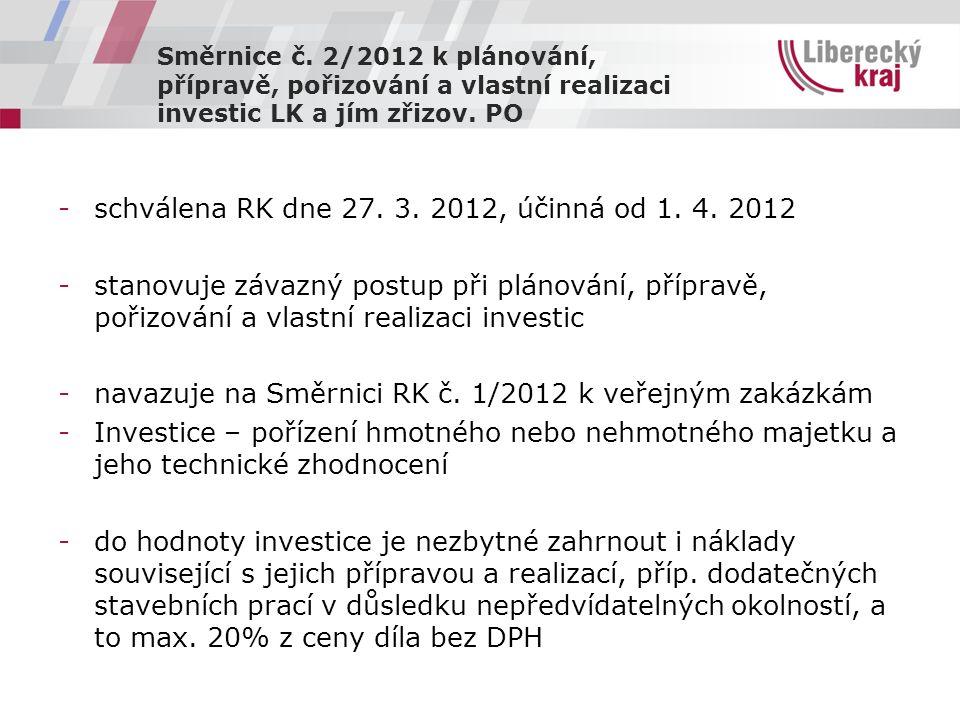 Směrnice č. 2/2012 k plánování, přípravě, pořizování a vlastní realizaci investic LK a jím zřizov.