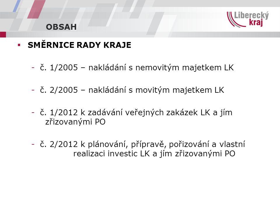 OBSAH  SMĚRNICE RADY KRAJE -č. 1/2005 – nakládání s nemovitým majetkem LK -č.