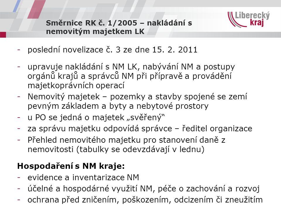 Směrnice RK č. 1/2005 – nakládání s nemovitým majetkem LK -poslední novelizace č.