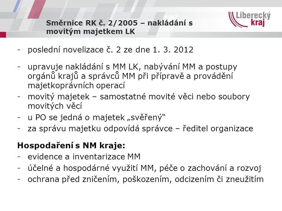 Směrnice RK č. 2/2005 – nakládání s movitým majetkem LK -poslední novelizace č.