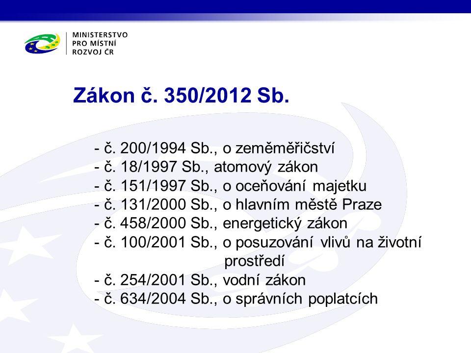 Novely prováděcích vyhlášek  Vyhláška č.431/2012 Sb., kterou se mění vyhláška č.