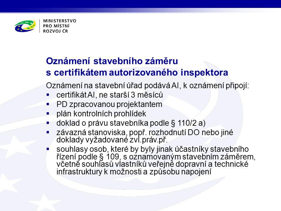 Oznámení stavebního záměru s certifikátem autorizovaného inspektora Oznámení na stavební úřad podává AI, k oznámení připojí:  certifikát AI, ne starší 3 měsíců  PD zpracovanou projektantem  plán kontrolních prohlídek  doklad o právu stavebníka podle § 110/2 a)  závazná stanoviska, popř.