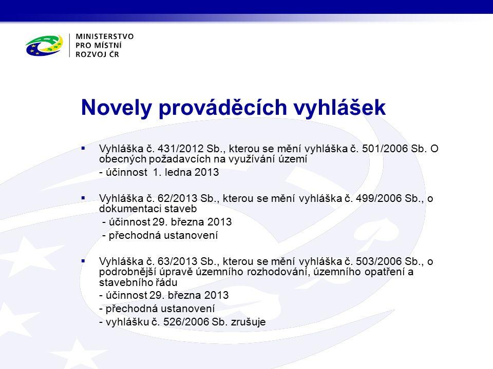 Novely prováděcích vyhlášek  Vyhláška č. 431/2012 Sb., kterou se mění vyhláška č.