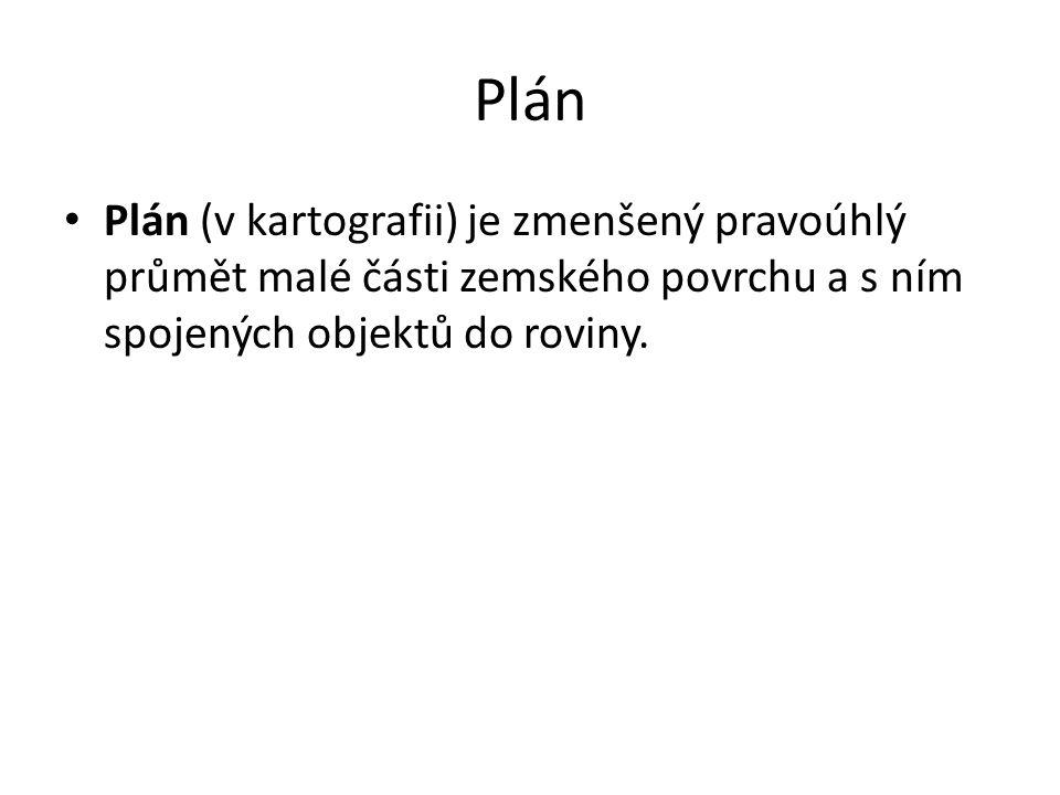 Plán Plán (v kartografii) je zmenšený pravoúhlý průmět malé části zemského povrchu a s ním spojených objektů do roviny.