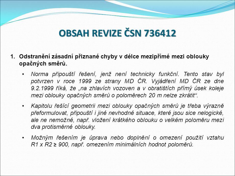OBSAH REVIZE ČSN 736412 1.Odstranění zásadní přiznané chyby v délce mezipřímé mezi oblouky opačných směrů.