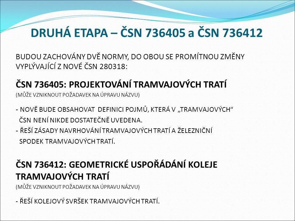"""DRUHÁ ETAPA – ČSN 736405 a ČSN 736412 BUDOU ZACHOVÁNY DVĚ NORMY, DO OBOU SE PROMÍTNOU ZMĚNY VYPLÝVAJÍCÍ Z NOVÉ ČSN 280318: ČSN 736405: PROJEKTOVÁNÍ TRAMVAJOVÝCH TRATÍ (MŮŽE VZNIKNOUT POŽADAVEK NA ÚPRAVU NÁZVU) - NOVĚ BUDE OBSAHOVAT DEFINICI POJMŮ, KTERÁ V """"TRAMVAJOVÝCH ČSN NENÍ NIKDE DOSTATEČNĚ UVEDENA."""