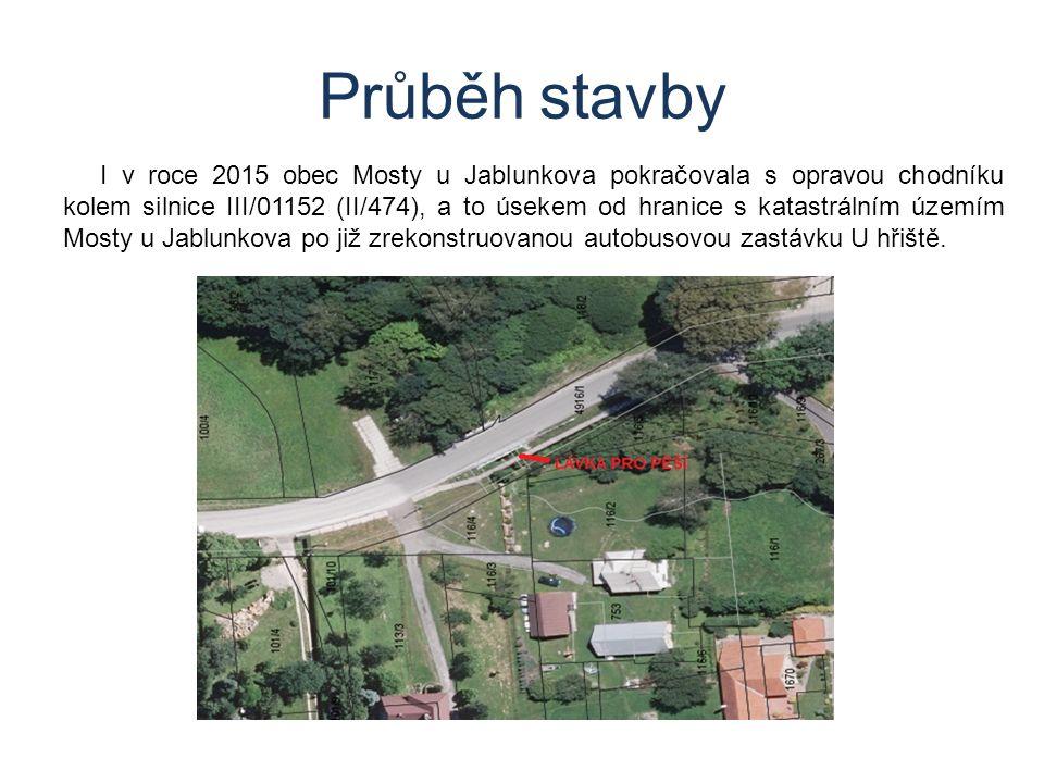 Průběh stavby I v roce 2015 obec Mosty u Jablunkova pokračovala s opravou chodníku kolem silnice III/01152 (II/474), a to úsekem od hranice s katastrálním územím Mosty u Jablunkova po již zrekonstruovanou autobusovou zastávku U hřiště.