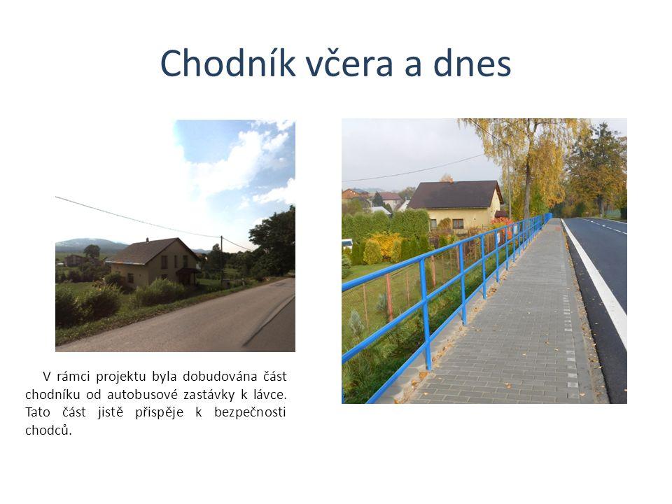 Chodník včera a dnes V rámci projektu byla dobudována část chodníku od autobusové zastávky k lávce.