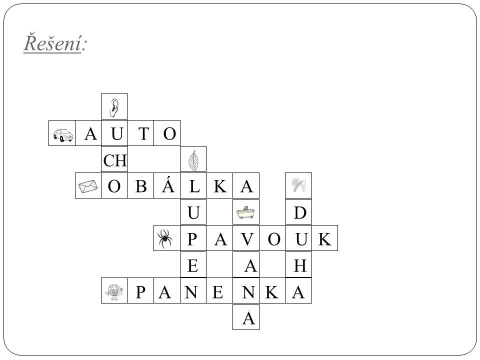 Řešení: Co znázorňují jednotlivý obrázky? Doplň písmena do políček.iiiiiiiiiiiiiiii A U T O CH O B Á L K A U D P A V O U K E A H P A N E N K A A