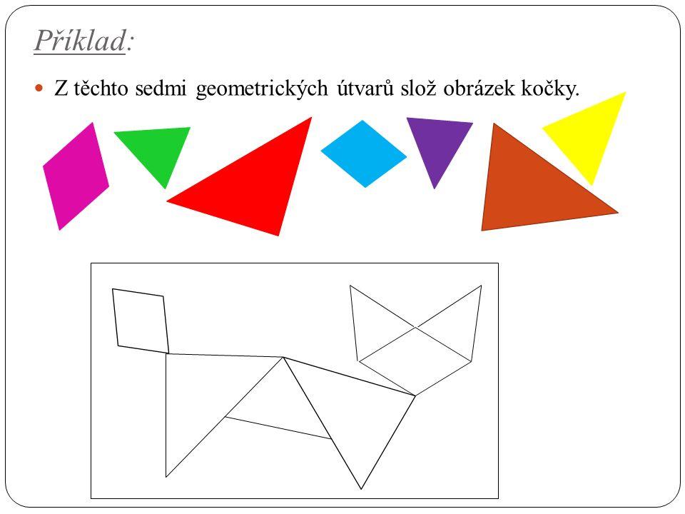 Příklad: Z těchto sedmi geometrických útvarů slož obrázek kočky.