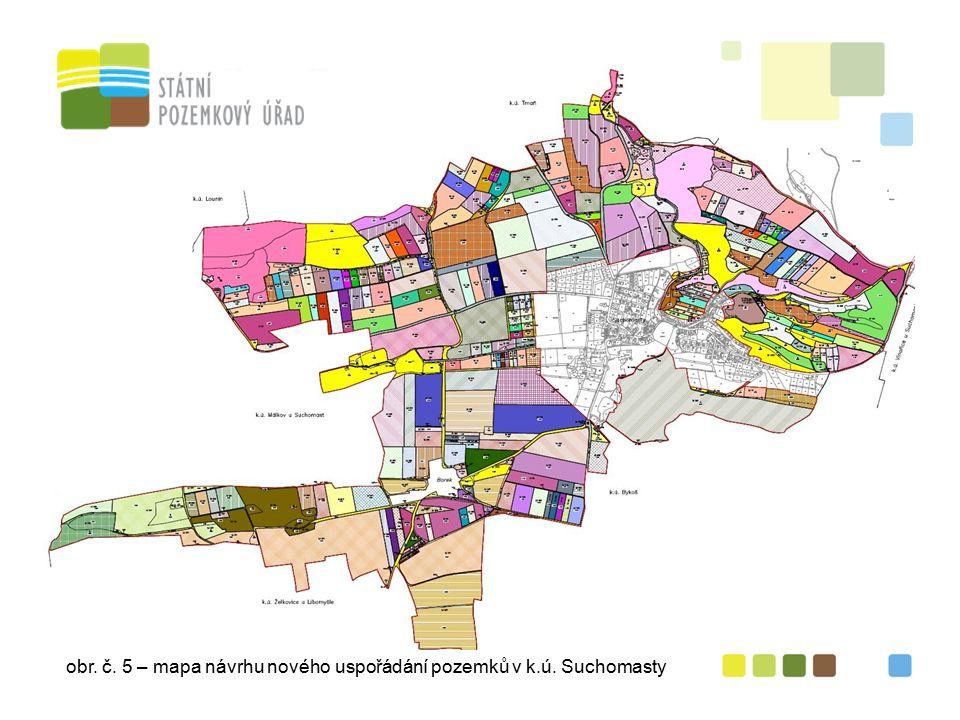 obr. č. 5 – mapa návrhu nového uspořádání pozemků v k.ú. Suchomasty