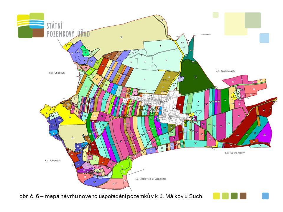 obr. č. 6 – mapa návrhu nového uspořádání pozemků v k.ú. Málkov u Such.