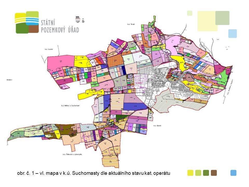 obr. č. 1 – vl. mapa v k.ú. Suchomasty dle aktuálního stavu kat. operátu
