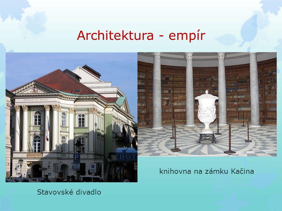 Architektura - empír Stavovské divadlo knihovna na zámku Kačina