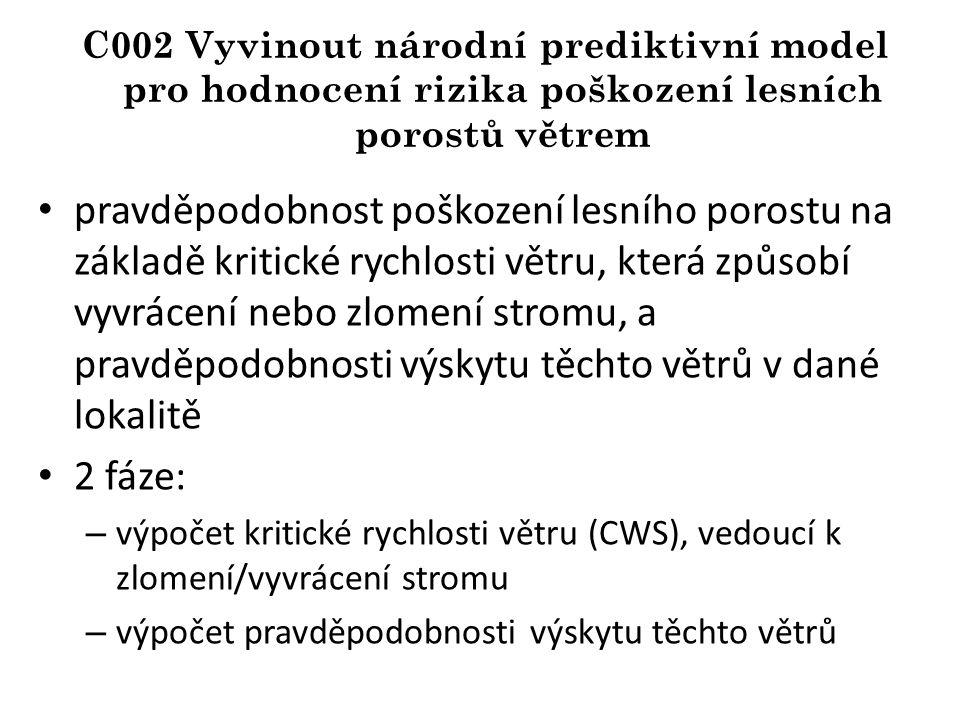 C002 Vyvinout národní prediktivní model pro hodnocení rizika poškození lesních porostů větrem pravděpodobnost poškození lesního porostu na základě kritické rychlosti větru, která způsobí vyvrácení nebo zlomení stromu, a pravděpodobnosti výskytu těchto větrů v dané lokalitě 2 fáze: – výpočet kritické rychlosti větru (CWS), vedoucí k zlomení/vyvrácení stromu – výpočet pravděpodobnosti výskytu těchto větrů