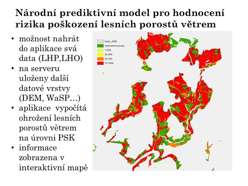 Národní prediktivní model pro hodnocení rizika poškození lesních porostů větrem možnost nahrát do aplikace svá data (LHP,LHO) na serveru uloženy další datové vrstvy (DEM, WaSP…) aplikace vypočítá ohrožení lesních porostů větrem na úrovni PSK informace zobrazena v interaktivní mapě