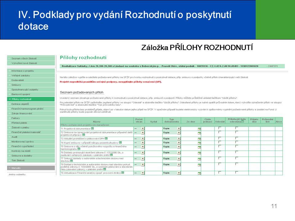 11 IV. Podklady pro vydání Rozhodnutí o poskytnutí dotace Záložka PŘÍLOHY ROZHODNUTÍ