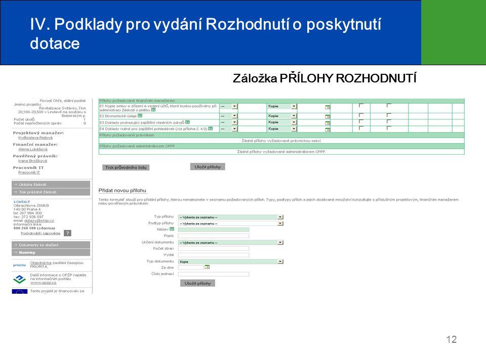 12 IV. Podklady pro vydání Rozhodnutí o poskytnutí dotace Záložka PŘÍLOHY ROZHODNUTÍ
