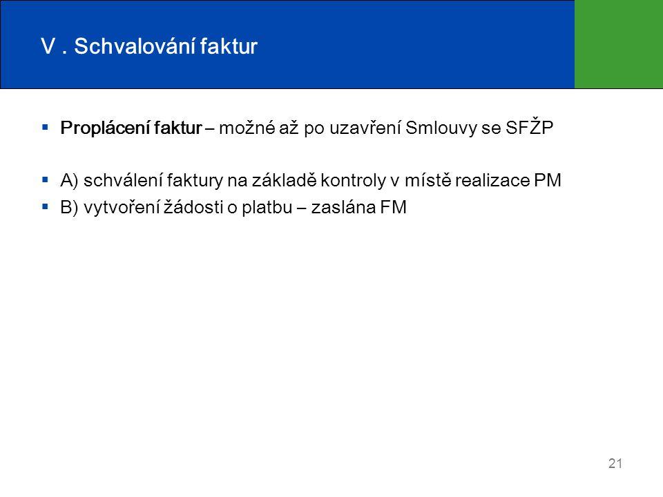 V. Schvalování faktur  Proplácení faktur – možné až po uzavření Smlouvy se SFŽP  A) schválení faktury na základě kontroly v místě realizace PM  B)