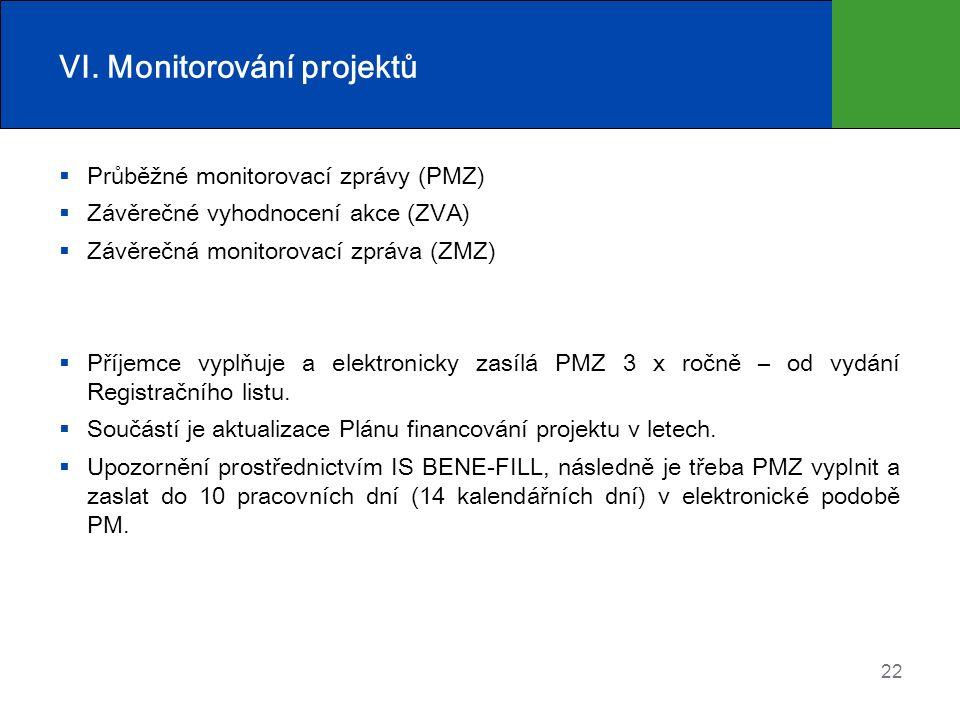 22 VI. Monitorování projektů  Průběžné monitorovací zprávy (PMZ)  Závěrečné vyhodnocení akce (ZVA)  Závěrečná monitorovací zpráva (ZMZ)  Příjemce