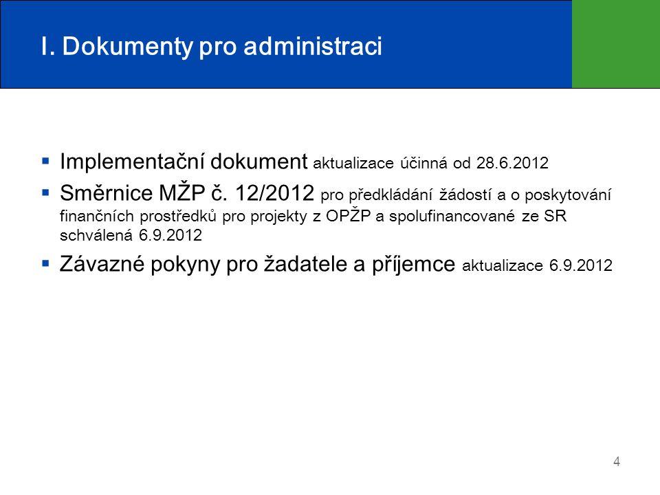 I. Dokumenty pro administraci  Implementační dokument aktualizace účinná od 28.6.2012  Směrnice MŽP č. 12/2012 pro předkládání žádostí a o poskytová