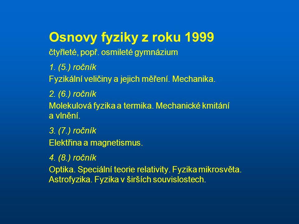 Osnovy fyziky z roku 1999 čtyřleté, popř. osmileté gymnázium 1.