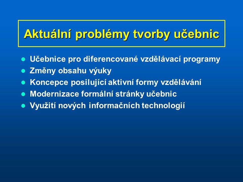 Aktuální problémy tvorby učebnic Učebnice pro diferencované vzdělávací programy Změny obsahu výuky Koncepce posilující aktivní formy vzdělávání Modernizace formální stránky učebnic Využití nových informačních technologií