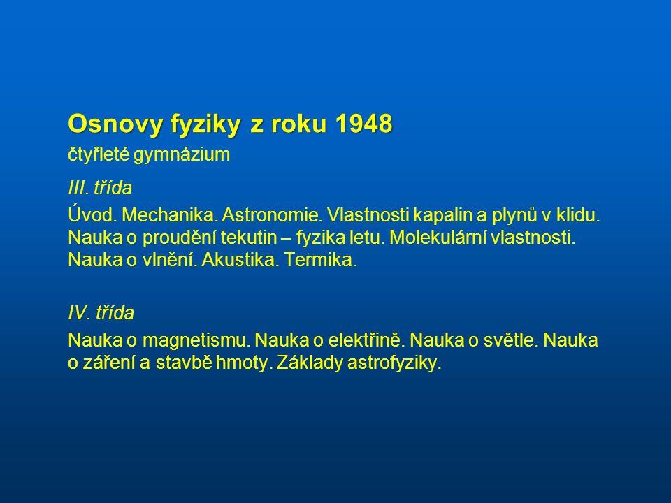 Osnovy fyziky z roku 1948 čtyřleté gymnázium III. třída Úvod.
