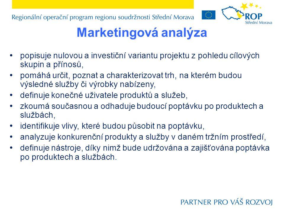 Marketingová analýza popisuje nulovou a investiční variantu projektu z pohledu cílových skupin a přínosů, pomáhá určit, poznat a charakterizovat trh,