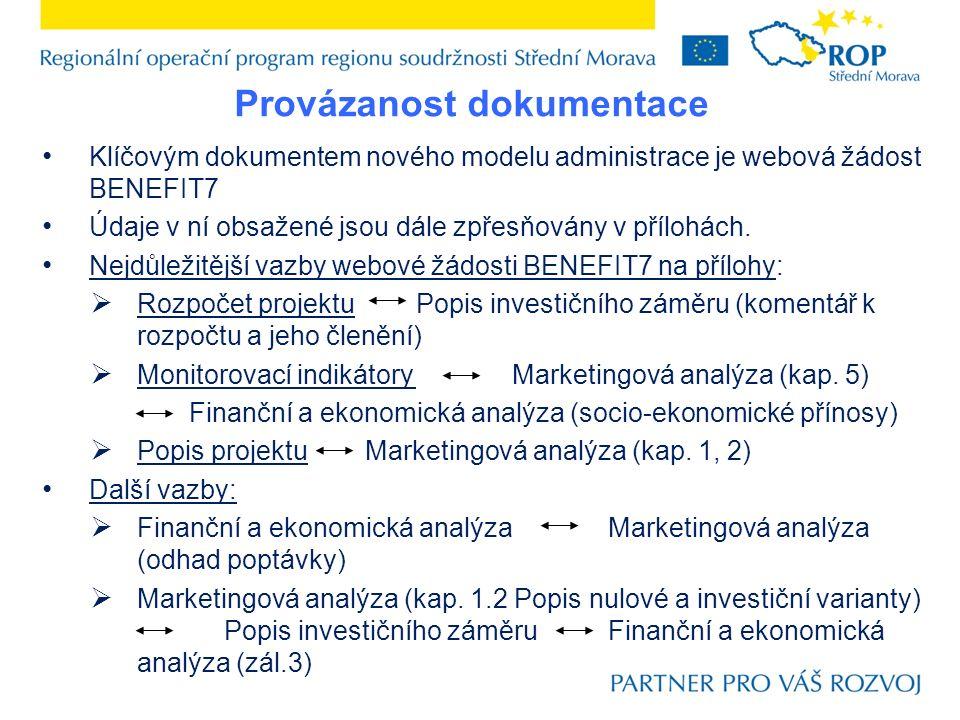 Provázanost dokumentace Klíčovým dokumentem nového modelu administrace je webová žádost BENEFIT7 Údaje v ní obsažené jsou dále zpřesňovány v přílohách.