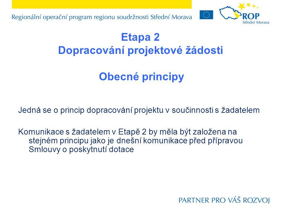 Obecné principy Jedná se o princip dopracování projektu v součinnosti s žadatelem Komunikace s žadatelem v Etapě 2 by měla být založena na stejném pri