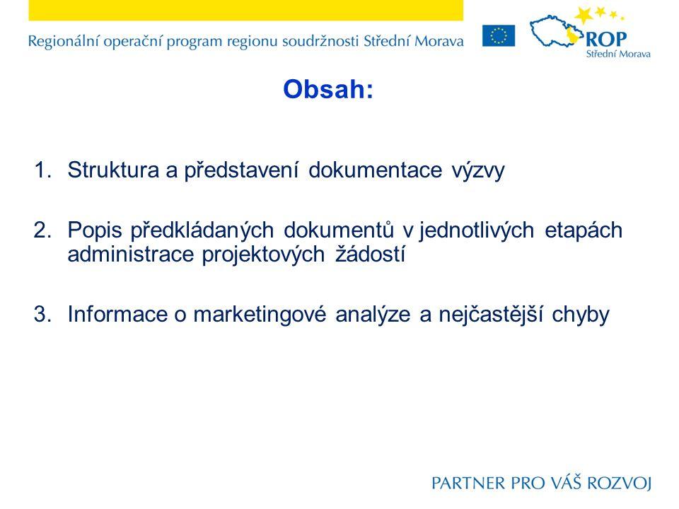 1.Struktura a představení dokumentace výzvy 2.Popis předkládaných dokumentů v jednotlivých etapách administrace projektových žádostí 3.Informace o mar