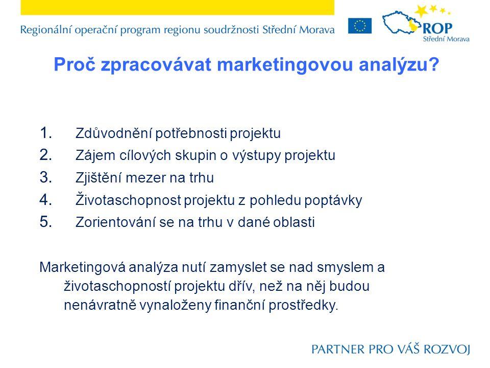 1. Zdůvodnění potřebnosti projektu 2. Zájem cílových skupin o výstupy projektu 3. Zjištění mezer na trhu 4. Životaschopnost projektu z pohledu poptávk