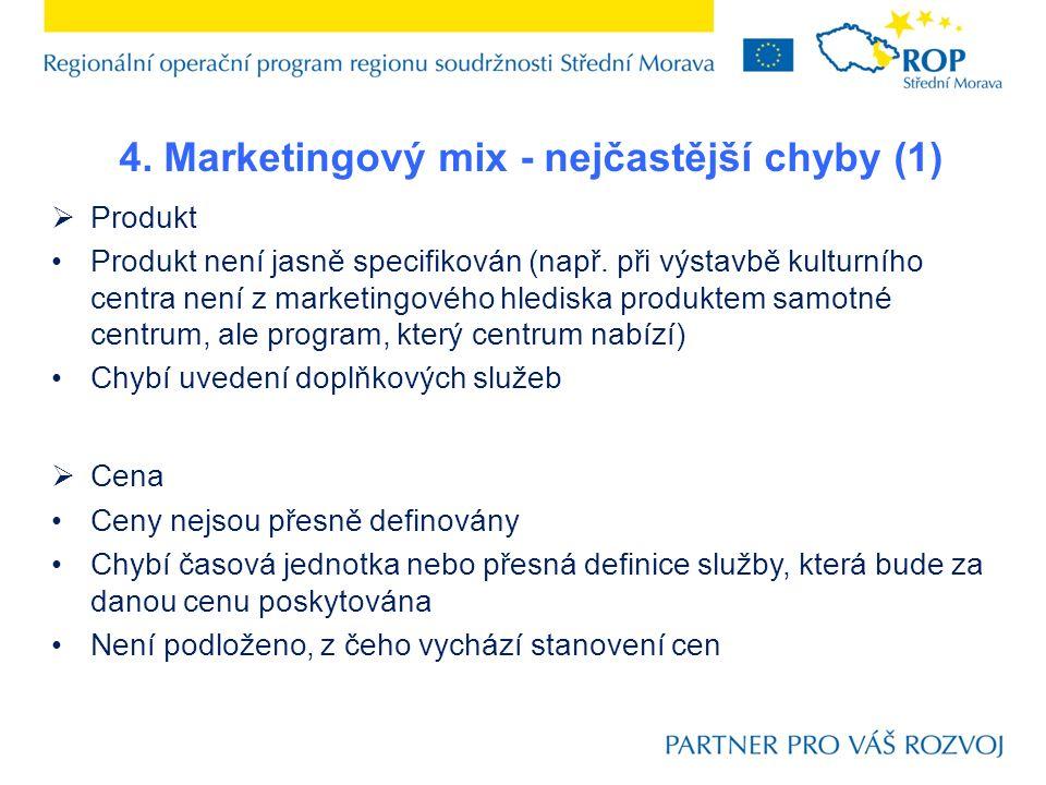 4. Marketingový mix - nejčastější chyby (1)  Produkt Produkt není jasně specifikován (např. při výstavbě kulturního centra není z marketingového hled