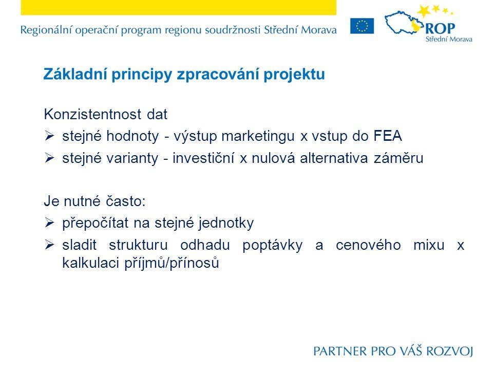 Základní principy zpracování projektu Konzistentnost dat  stejné hodnoty - výstup marketingu x vstup do FEA  stejné varianty - investiční x nulová a