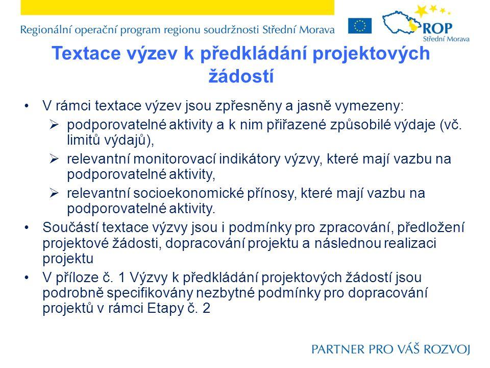 Textace výzev k předkládání projektových žádostí V rámci textace výzev jsou zpřesněny a jasně vymezeny:  podporovatelné aktivity a k nim přiřazené zp